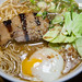 Smoked Bone Broth Ramen (broth of chicken, pork, duck and beef) with charred pork belly and poached egg