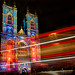 Light trails on Westminster Abbey