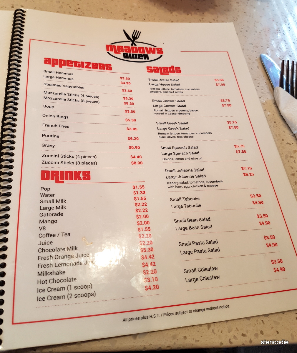 Meadows Diner menu and prices
