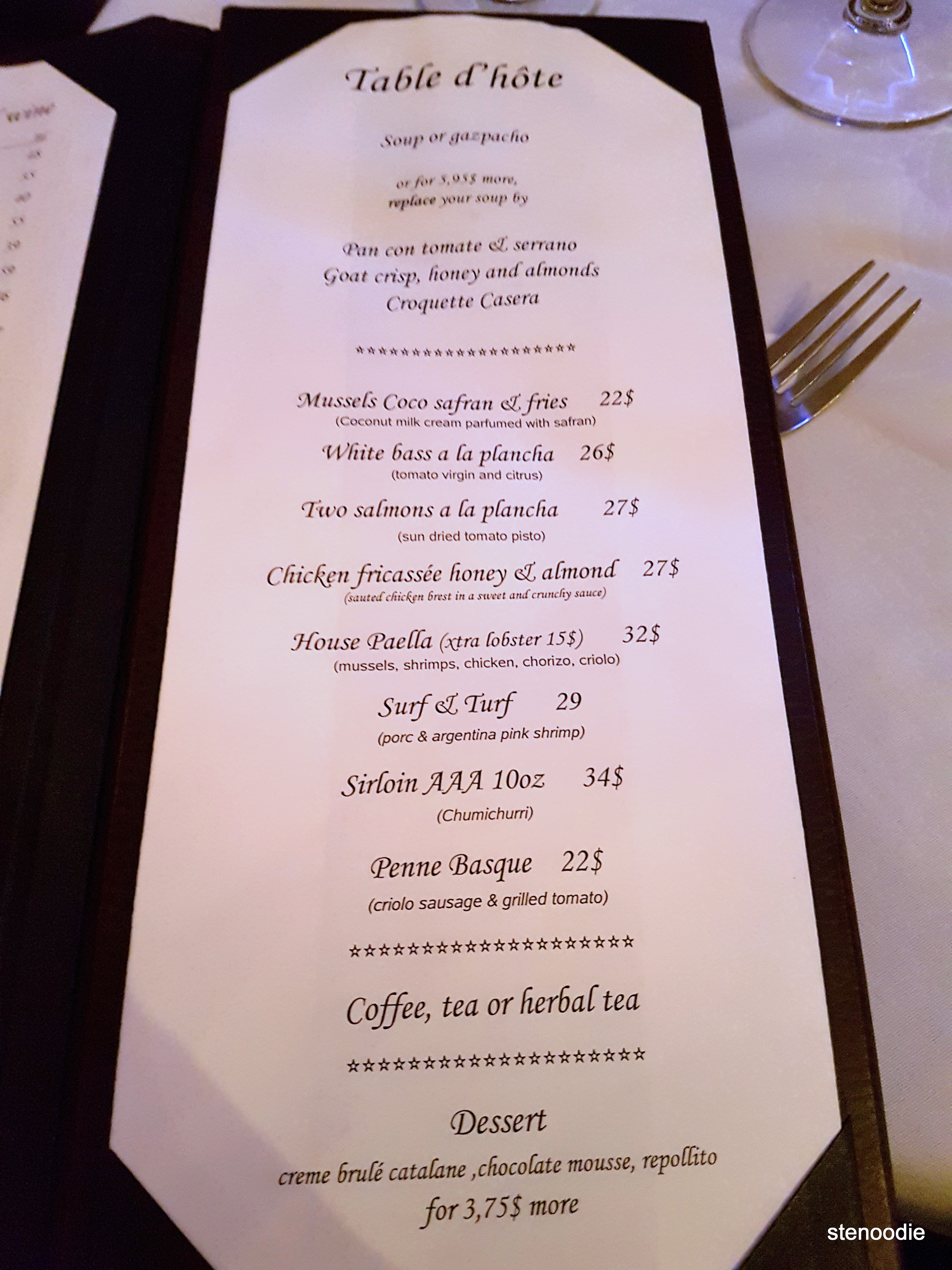Copas set menu and prices