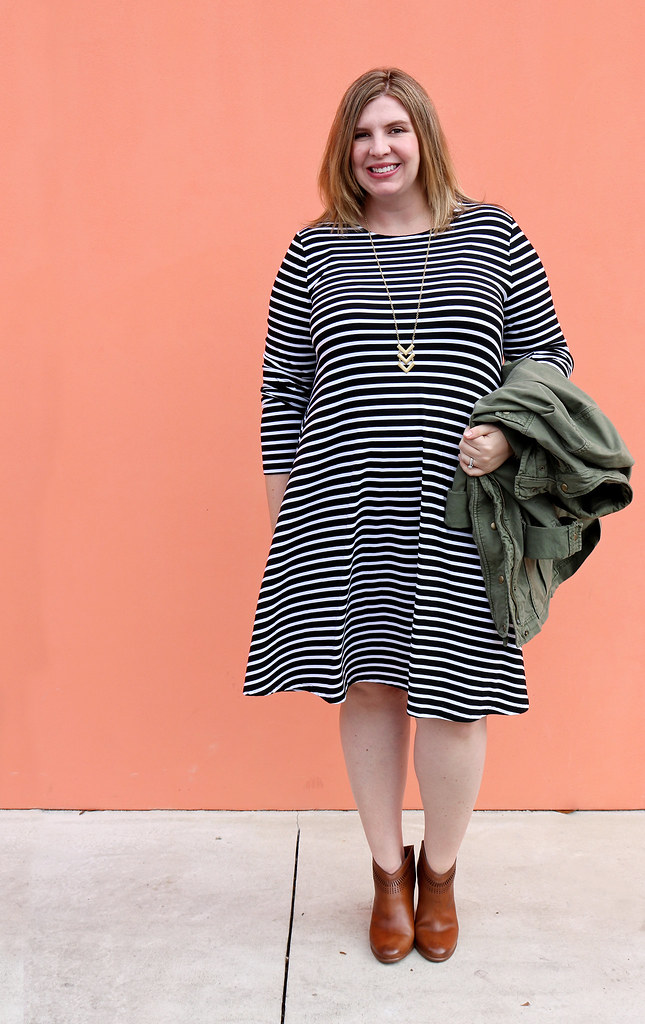 black and white stripe swing dress, olive cargo jacket, cognac booties 3