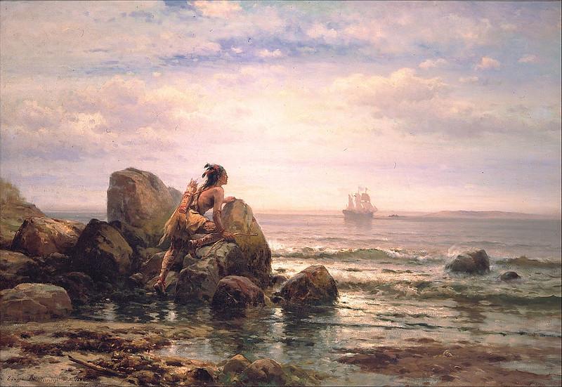 Henrik Hudson entering New York Harbor, by Edward Mora