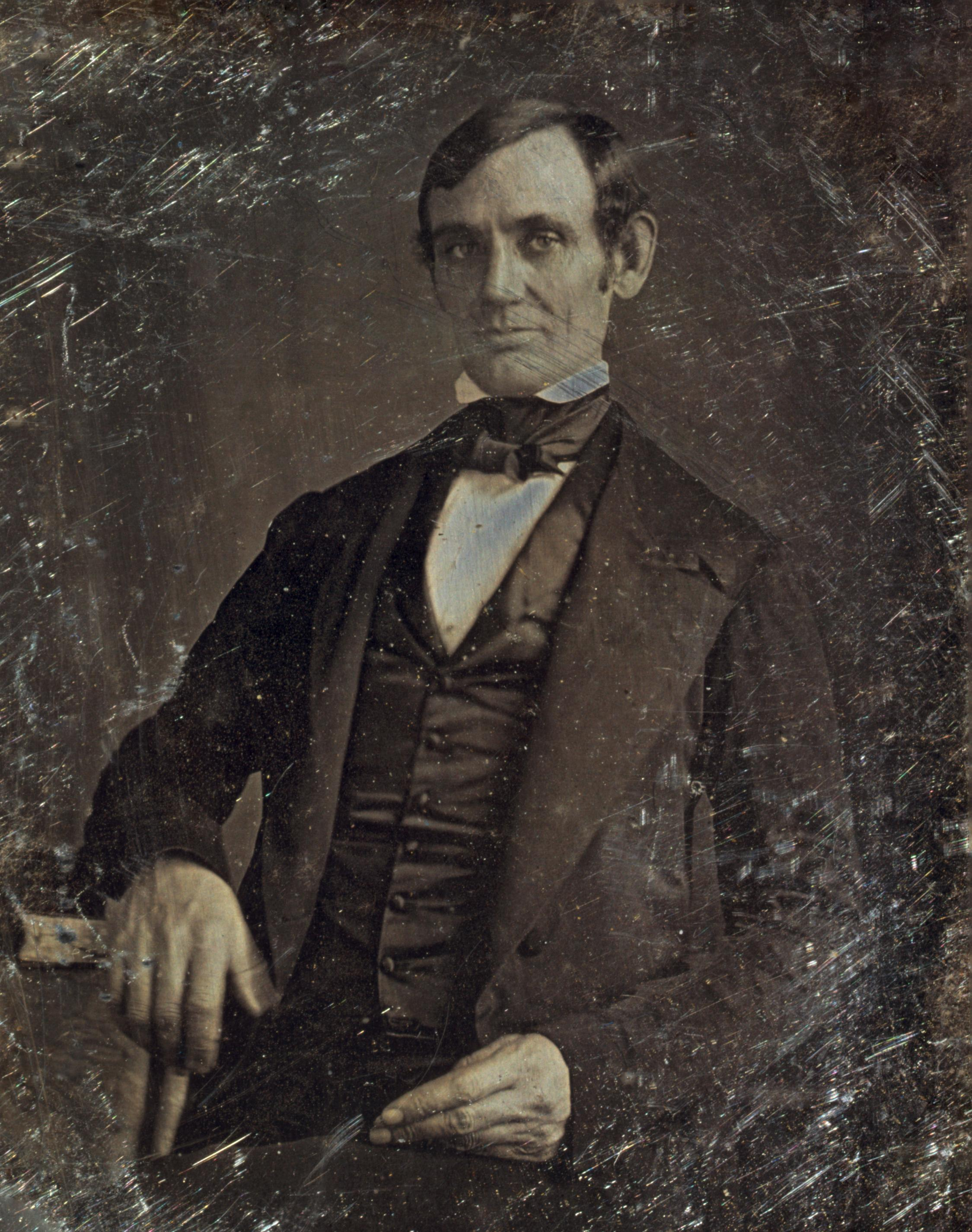 Abraham Lincoln in his late 30s as a member of the U.S. House of Representatives. Attributed to Nicholas H. Shepherd, based on the recollections of Gibson W. Harris, a law student in Lincoln's office from 1845 to 1847.