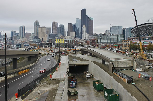 Highway 99 Tunnel and Seattle skyline