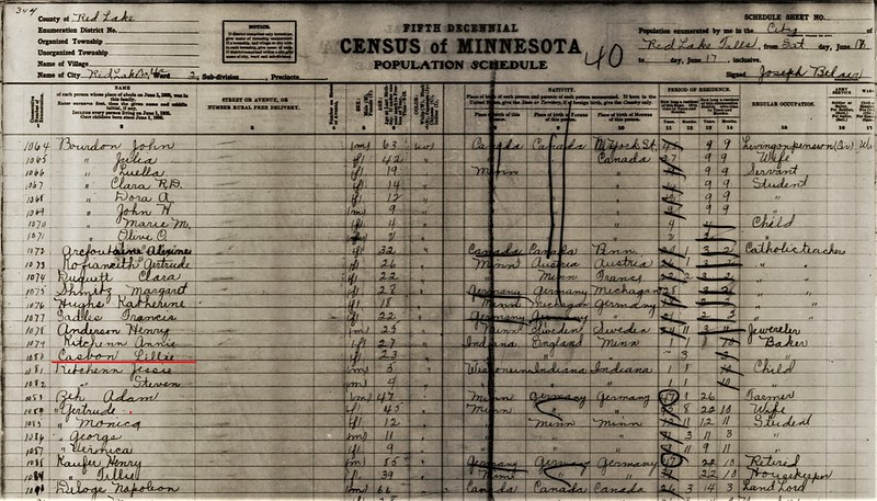 Casbon Lillian 1905 MN census Red Lake County