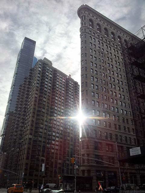 Sun flare from behind Flatiron building