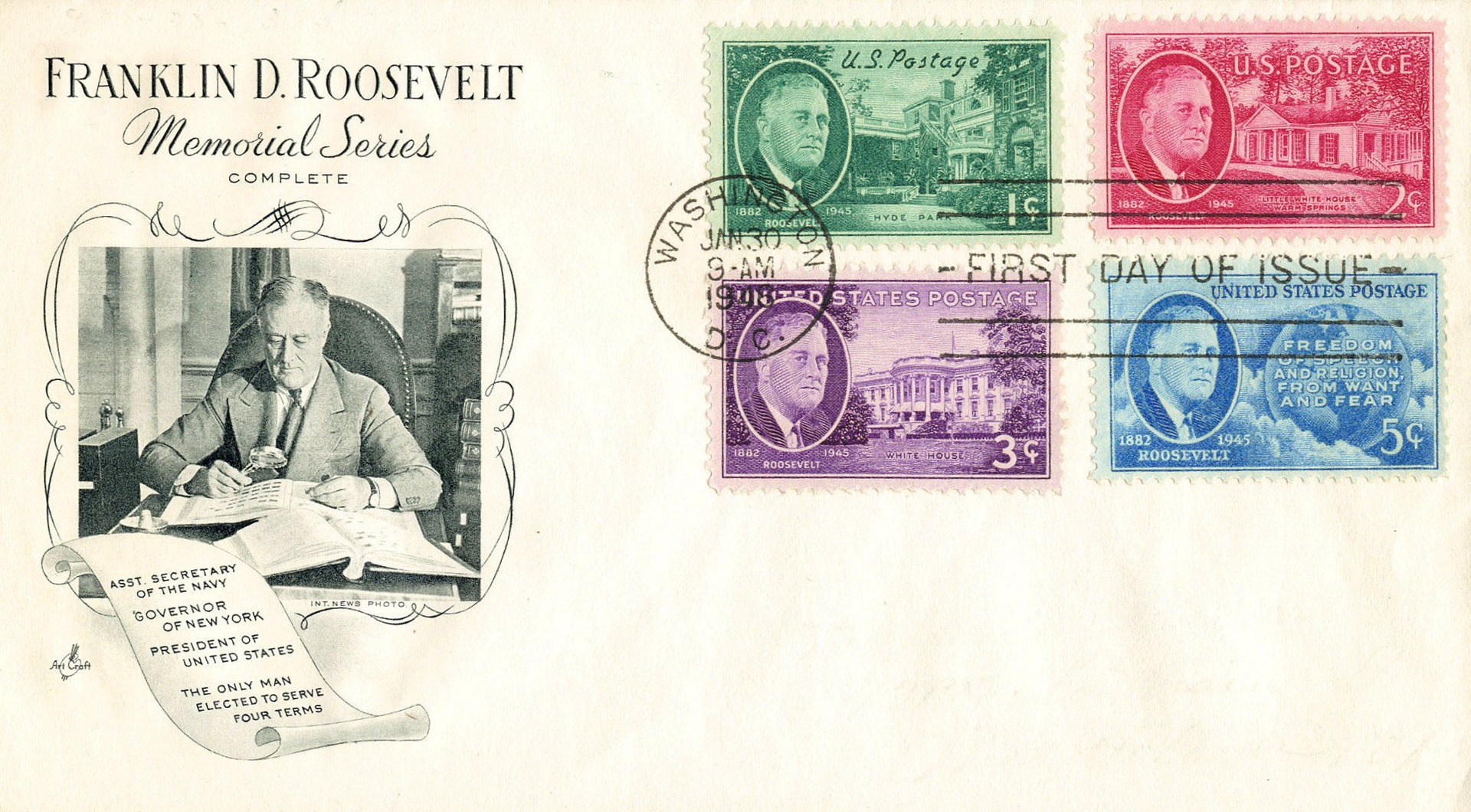 United States - Scott #930-933 (1945-1946) first day cover with complete set