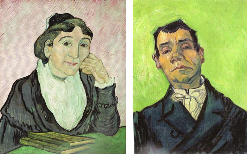 左)フィンセント・ファン・ゴッホ《アルルの女》(1900年、ローマ国立近代美術館) 右)フィンセント・ファン・ゴッホ《男の肖像》(1888年、クレラー=ミュラー美術館)