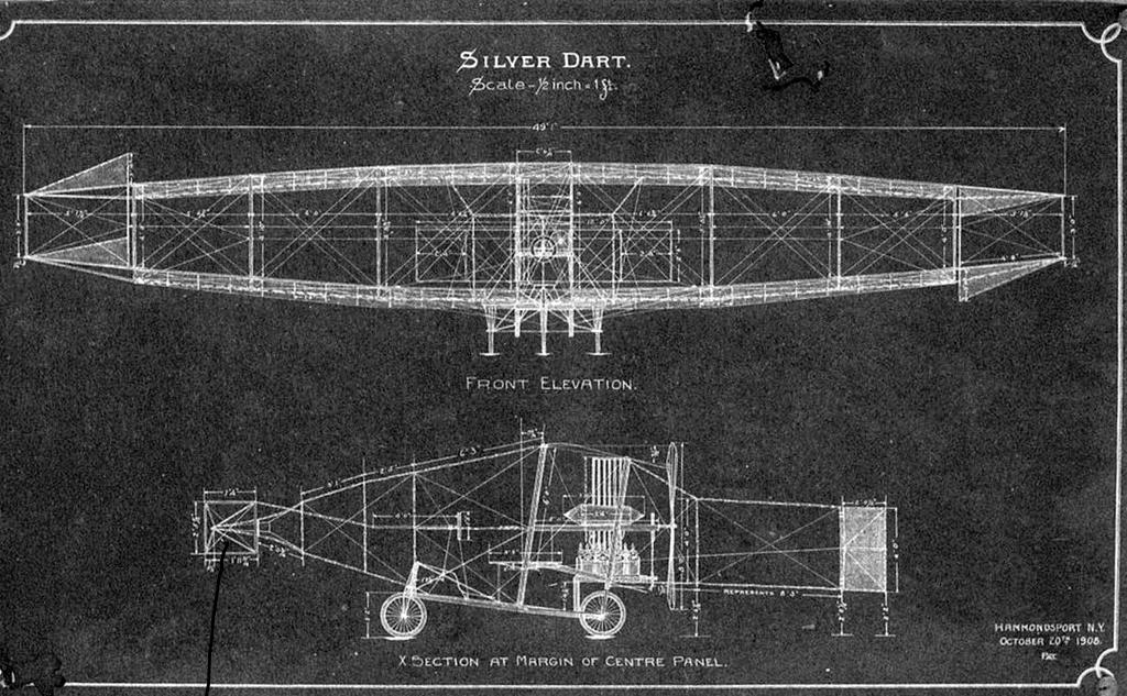 Blueprints of Silver Dart (Aerodrome #4), drawn at Hammondsport, NY October 20, 1908.