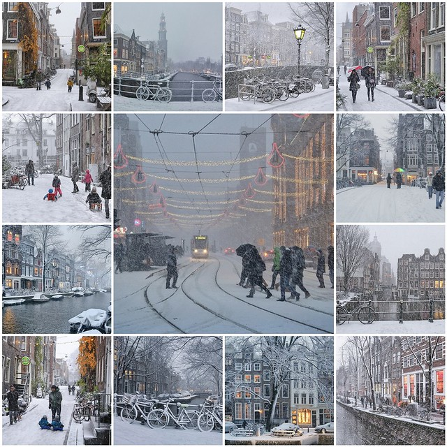 It's snowing in the heart of Amsterdam