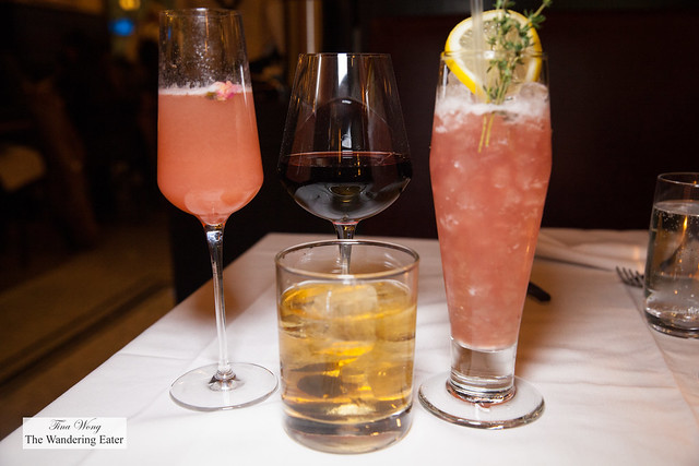 Our drinks - Coccinella, Boucherie Old Fashioned, Birds of Paradise and glass of Domaine La Boutinière Châteauneuf-du-Pape 2013