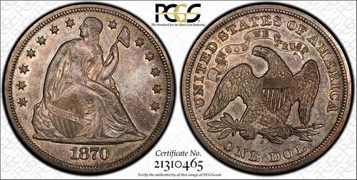 1870-S $1 PCGS MS62