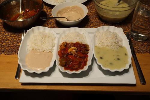 Thunfischcreme, französisch anmutender Gemüseeintopf und Soße von Königsberger Klopsen - jeweils zu Reis