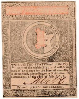 Virginia May 1780 $2 note back