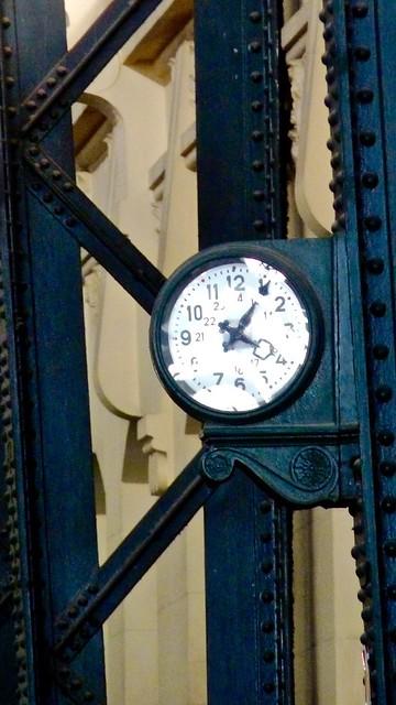 Antique Railway Clock in the Estació del Nord in Valencia, Spain