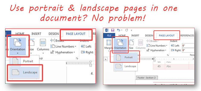 Use Both Portrait and Landscape Pages in the Same Document (Word 2013)