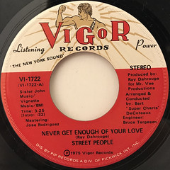 STREET PEOPLE:NEVER GET ENOUGH OF YOUR LOVE(LABEL SIDE-A)