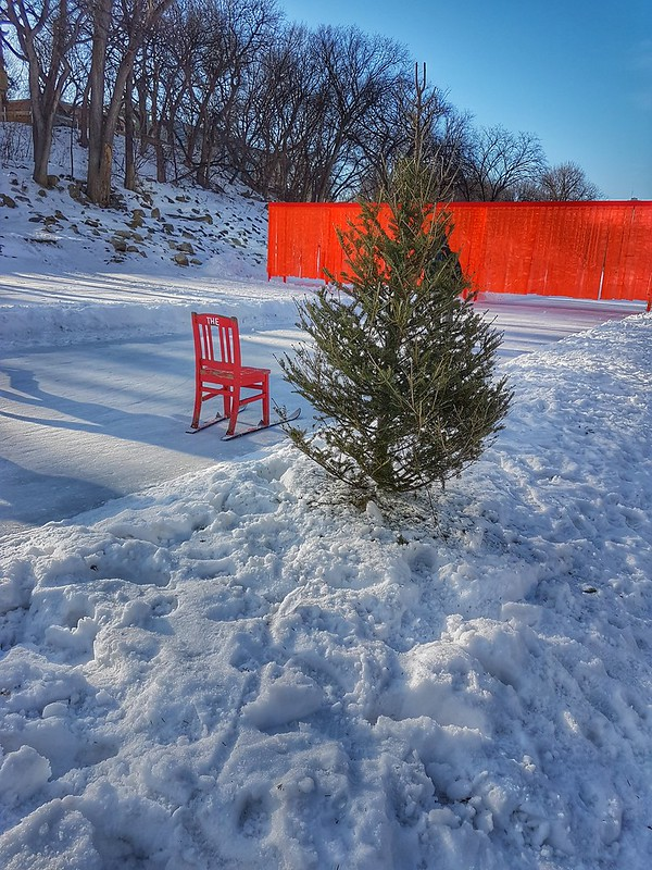 The Forks Winter the red chair