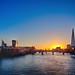 Sunrise over London skyline