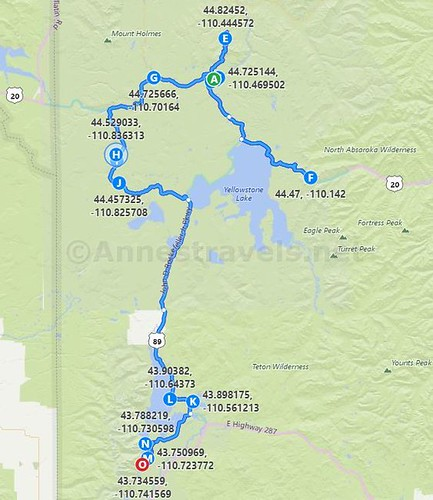 Map of the 7 day itinerary for an epic day hiking road trip to Yellowstone National Park and Grand Teton National Park, Wyoming