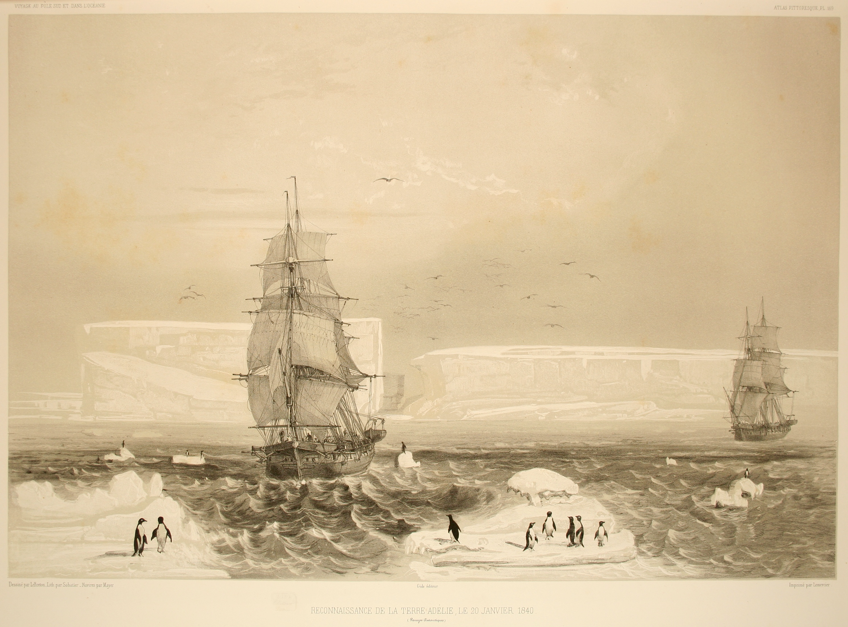 Discovery of Adélie Land by Jules Dumont d'Urville, 1840.