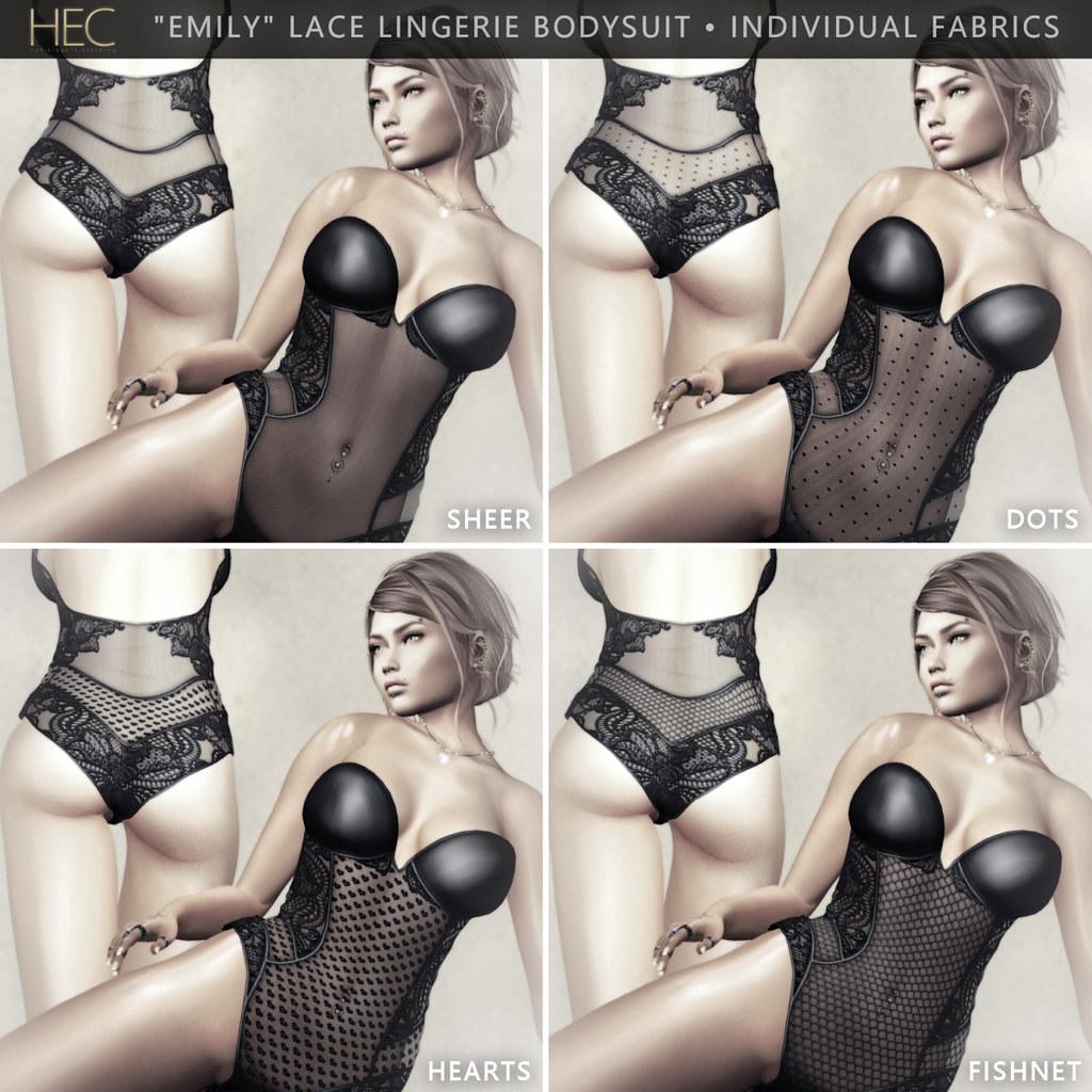 """HEC (FATPACK INDIVIDUALS) • """"EMILY"""" LACE LINGERIE BODYSUIT DSFL-00"""