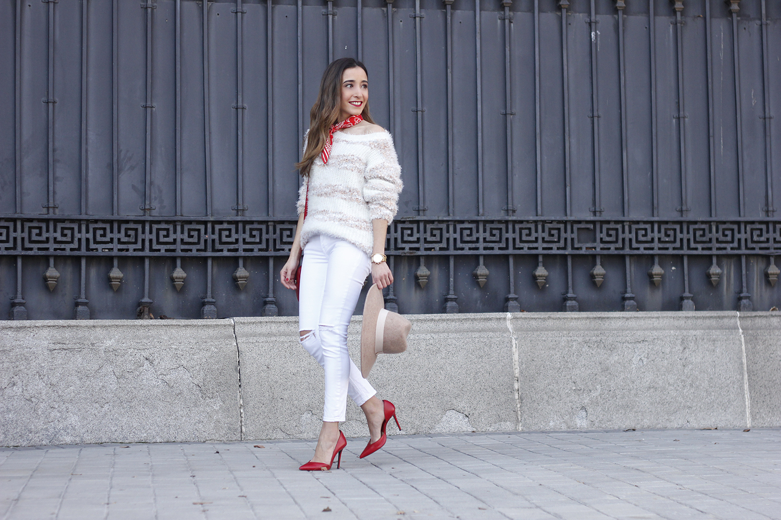 white outfit touch of red gucci bag primark hat winter outfit 201805