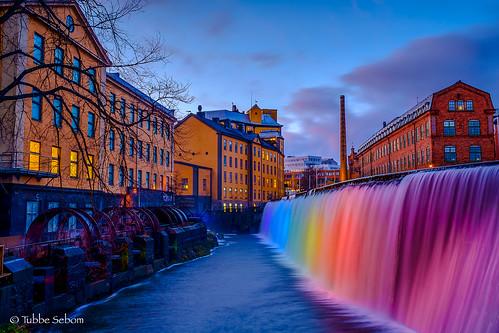 water city bulding river norrköping light pride fuji xpro1 bluesky dusk iridentdeveloper