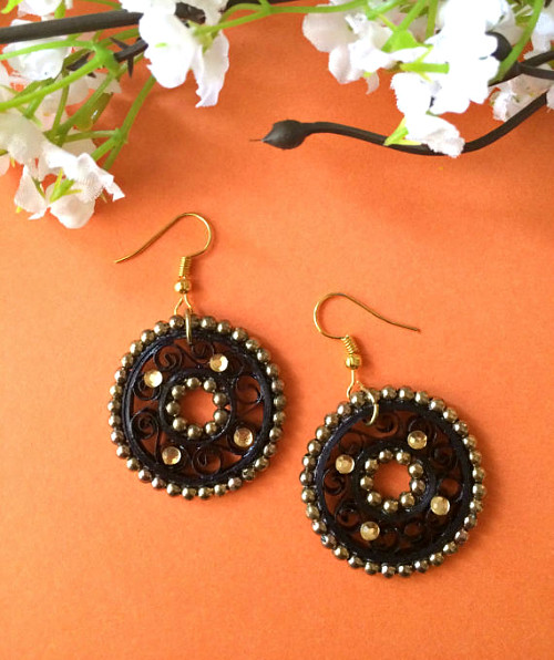 Quilled Earrings with Beads and Rhinestones