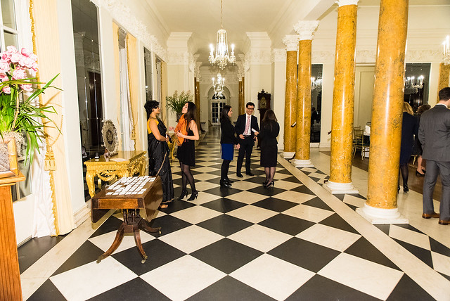 ISH Resident Scholars in Lobby Preparring for Guests - 2017 Tribute Dinner at the British Ambassador's Residence
