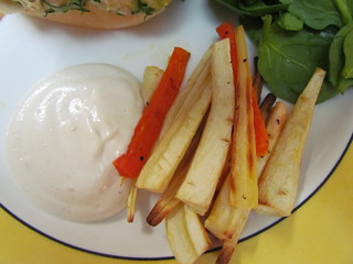 Parsnip (and Carrot) Fries with Spicy Harissa Mayonnaise