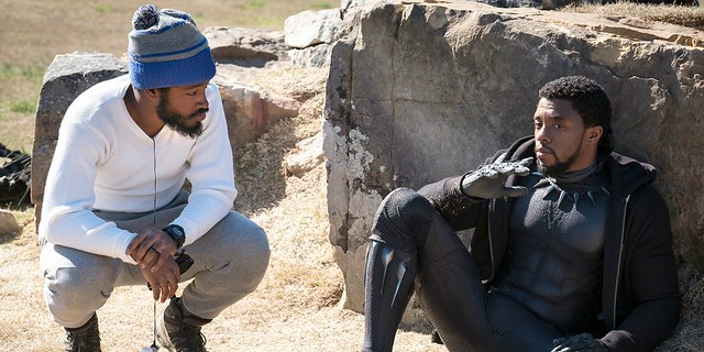 Ryan-Coogler-and-Chadwick-Boseman-on-set-of-Black-Panther