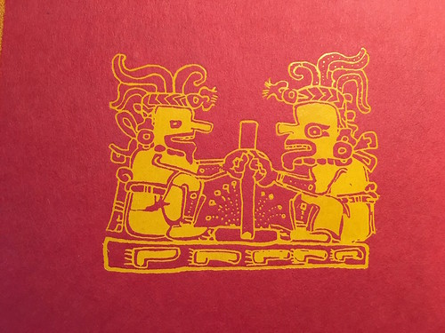 Mayan Art from the cover of the Mayan cookbook I've been diving into: False Tongues and Sunday Bread: A Guatemalan and Mayan Cookbook. From 8 Mayan Dishes to Try in the Yucatan
