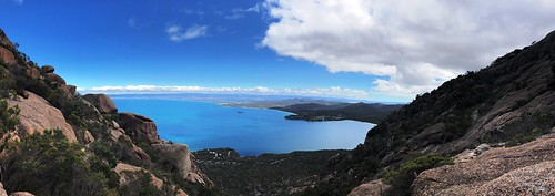 Beautiful view. Tasmania Australia. Wine Glass Bay to right of pic.
