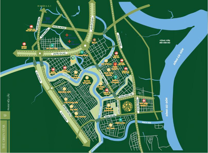 Vị trí dự án Hưng Phát Green Star quận 7 của Hưng Lộc Phát làm chủ đầu tư./