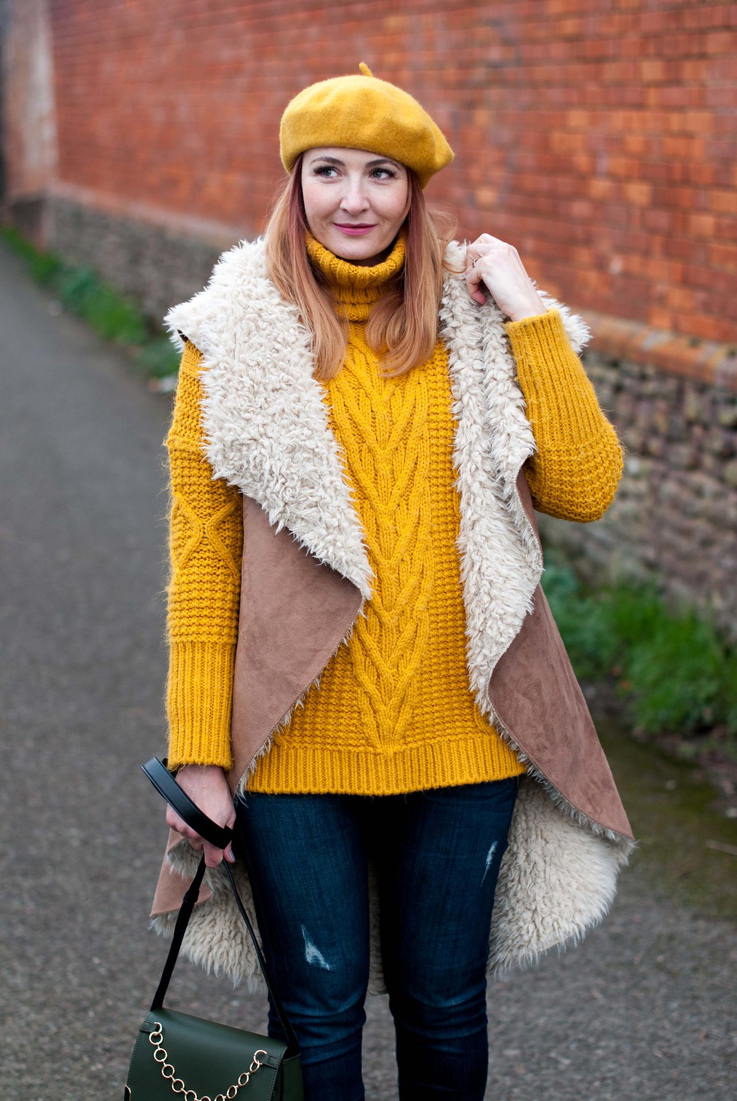 A Shearling Gilet Instead of a Winter Coat, Over 40 Style: Faux shearling gilet, yellow chunky sweater, skinny jeans, ankle boots and beret | Not Dressed As Lamb, Over 40 Style: Faux shearling gilet, yellow chunky sweater, skinny jeans, ankle boots and beret | Not Dressed As Lamb