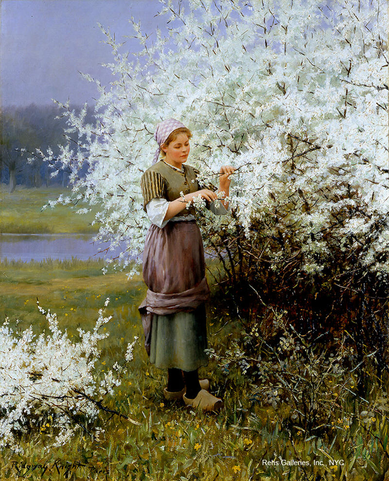 Spring Blossoms by Daniel Ridgway Knight. Image courtesy of Rehs Galleries, Inc., NYC
