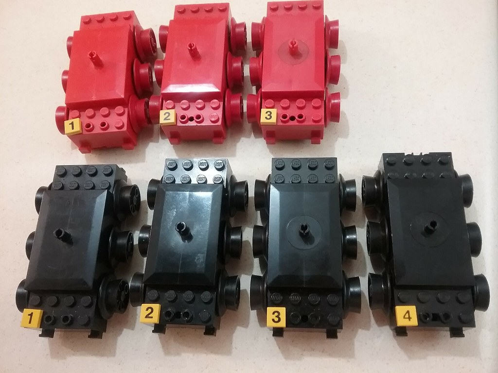 Numbered black and red 12V motors from top
