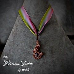 Violet Melody- Amethyst and Woven Copper Wire Necklace