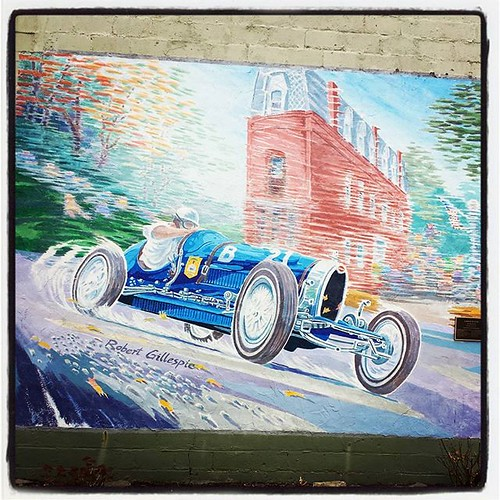 Wall mural in Watkins Glen, NY. We only stopped here for a bite to eat; I am LONG overdue to hike the Glen itself. #watkinsglen #fingerlakes