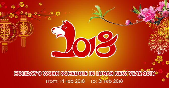 Announce work schedule in Lunar New Year 2018