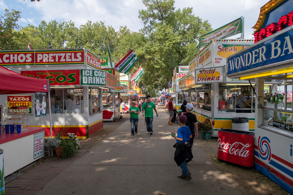 Food booth rows at Iowa State Fair