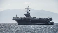 USS Carl Vinson (CVN 70) sits anchored off Manila, Feb. 19. (U.S. Navy/MC3 Dylan M. Kinee)
