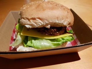 Burger from Gatherers at Brisbane Vegan Twilight Markets