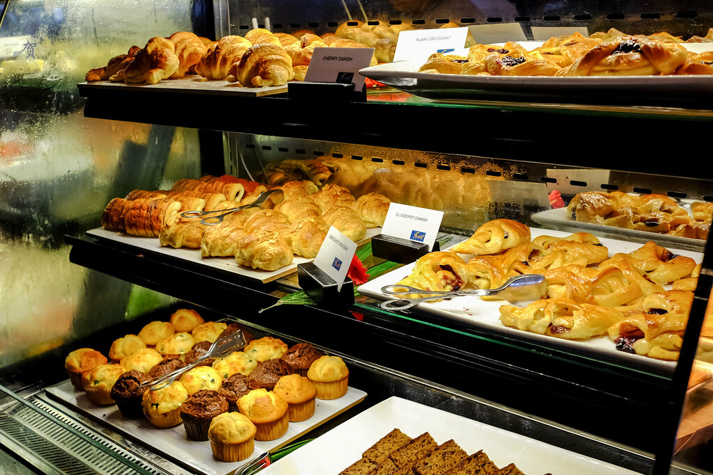 Breakfast pastries and muffins