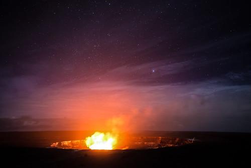 red volcanonationalpark volcano night stars clouds