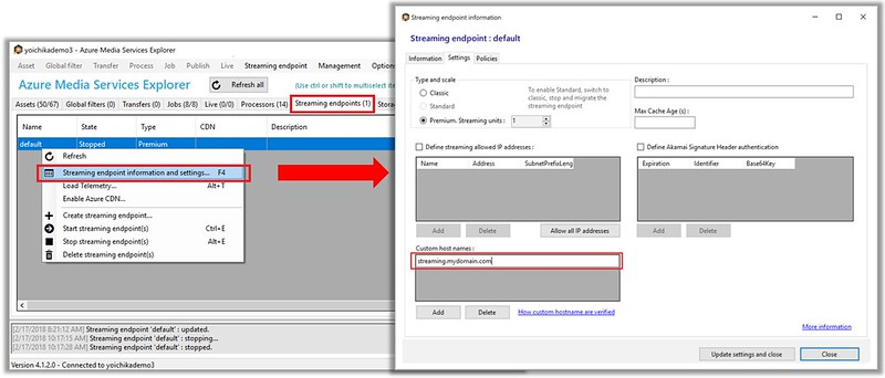 azure-media-explorer-custom-host-streaming-endpoint