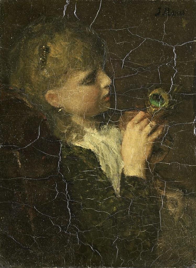 Jacob Maris - Meisje met pauwenveer (1877)