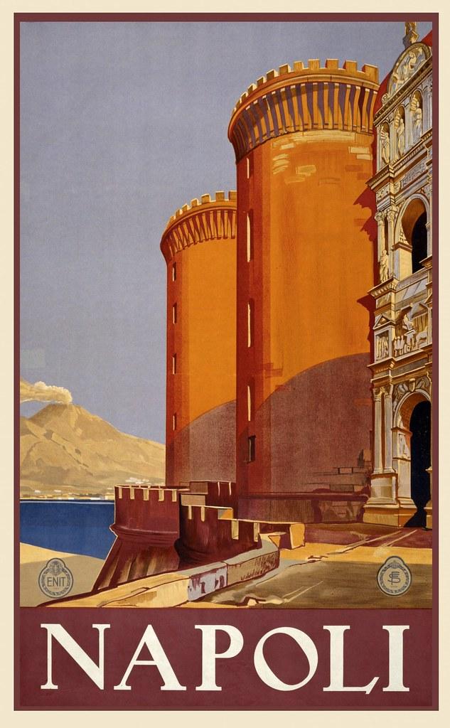 Comment venir à Naples ? Ancienne affiche de promotion de Naples.