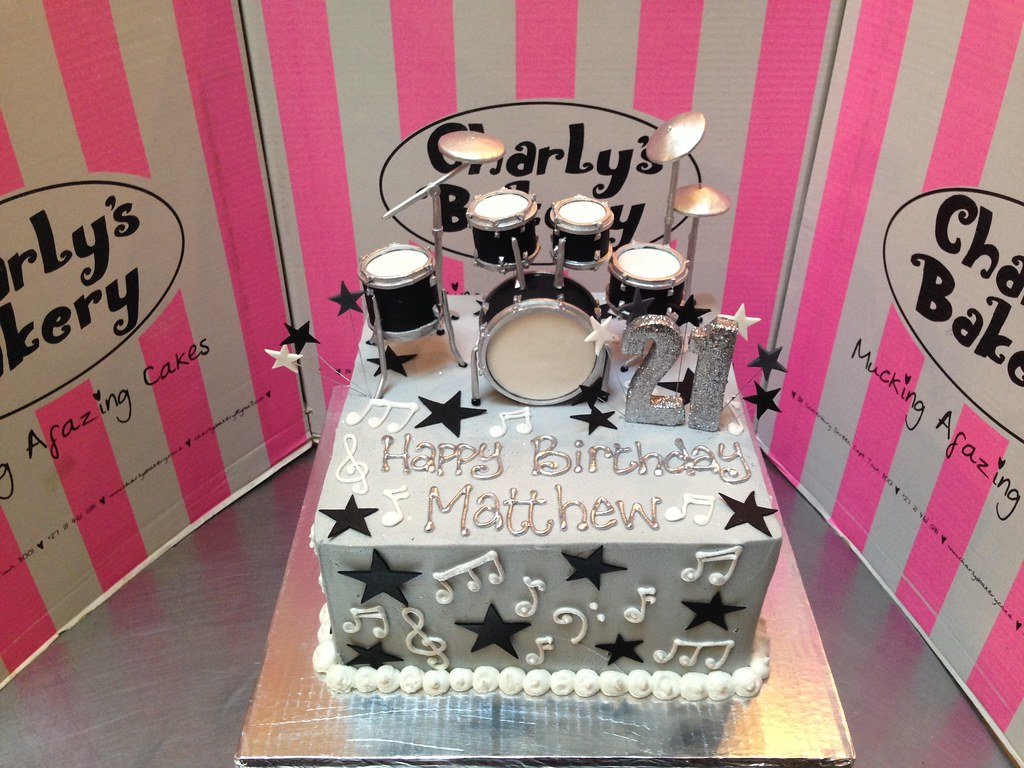 21st Birthday Cake Iced Grey Butter Icing With 3D Drum Set Topper Stars And Musical